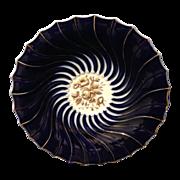 Meissen cobalt 9.25 plate with golden floral central medallion
