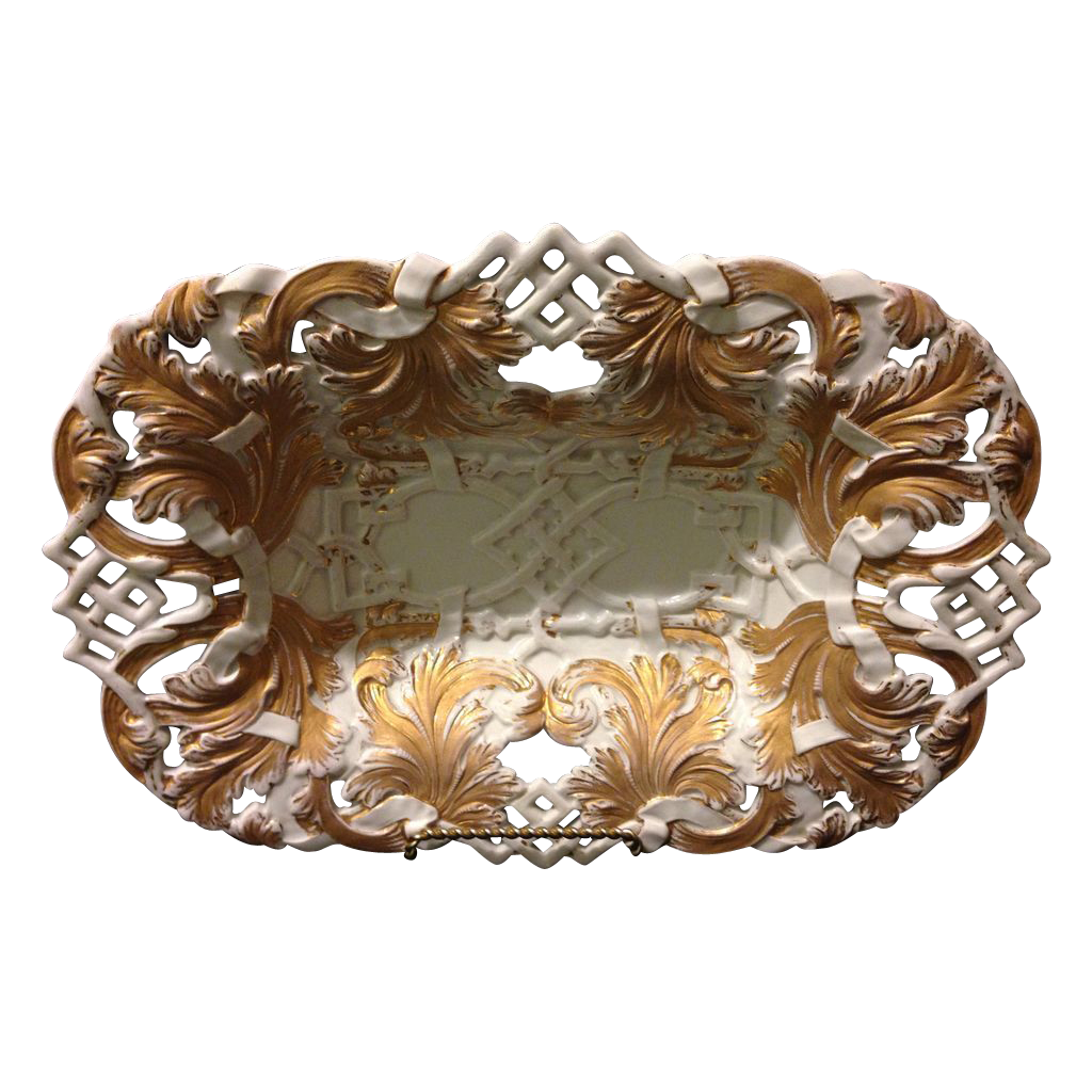 """Meissen First Quality 12.5"""" reticulated Rococo bowl with heavy gold gilt in near mint condition circa 1820's"""