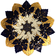 """Meissen First Quality 11.75"""" cobalt and heavy gold gilt leaf charger plate circa early 19th century"""