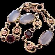 Rare Art Deco Walter Lampl Moonstone Garnet 14K Gold Bracelet