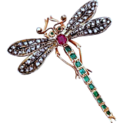 Rare Antique Art Nouveau Diamond Emerald Ruby 14K Gold Dragonfly Brooch