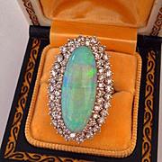 Retro OPAL Diamond 14K White Gold Vintage Ring