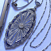 Rare Antique Edwardian Diamond Platinum Sapphire Necklace Pendant Brooch Art Deco