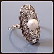 Art Deco Platinum Diamond Cultured Pearl 14K White Gold Ring