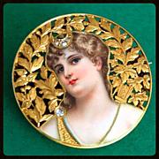 Antique Goddess Diana 18K Gold Enamel Diamond Portrait Brooch Pin