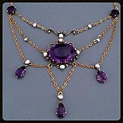 Antique Victorian Edwardian Amethyst 14k Gold Festoon Necklace