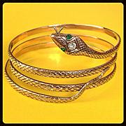 Antique Art Nouveau Victorian Diamond Emerald Snake Serpent 14K Gold Bracelet