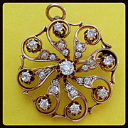 Antique Victorian 1CT Old Mine Cut Diamond 14K Gold Pendant Brooch