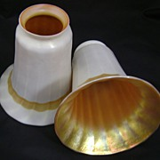 Pair of cased Marigold and Calcite Lustre Art gas signed lamp shades