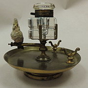 """Austrian Bronze Ink Stand with """"Cold Painted""""  Cockatoo"""