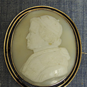 18th cen. Cameo Carved Cardinal pin, from shell  - w/14k setting