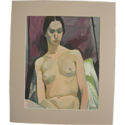 Serge Hollenbach Gouache Nude Painting Circa 1966