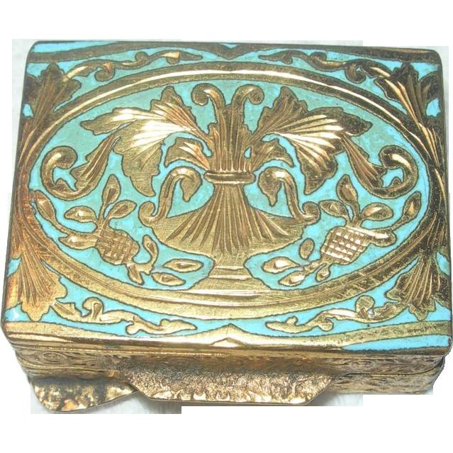 Italian Embossed Brass Pillbox with Inlay