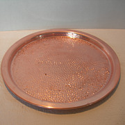 REDUCED Round Copper Craft Guild Tray