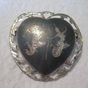 Vintage Nielloware Heart Shaped Brooch