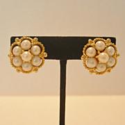Vintage Kramer Faux Pearl Clip Earrings