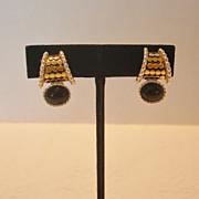 Two Tone Metal & Black Stone Premier Design Clip Earrings