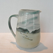 Vintage Ceramic Pitcher with Glazed Landscape Scene