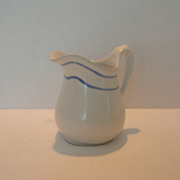 Vintage Pottery Pitcher in Classic White with Blue Stripe