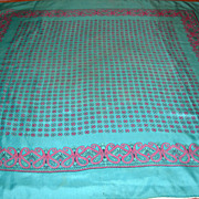 Vintage Turquoise and Pink Paisley Print Silk Scarf