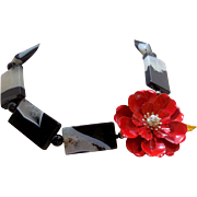 Red Vintage Flower Brooch Necklace with Black Gray and White Agate Beads