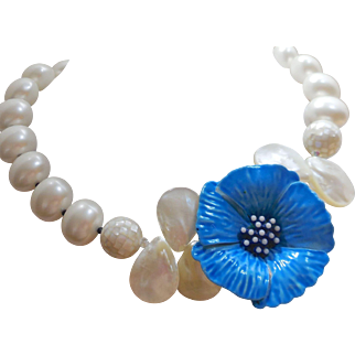 Vintage Blue Flower Brooch Necklace of White Shell Pearls - Mother of Pearl - and Inlay Shell Beads One of a Kind