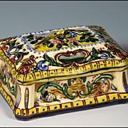Italian Faience Majolica Box with Lovebird Decoration