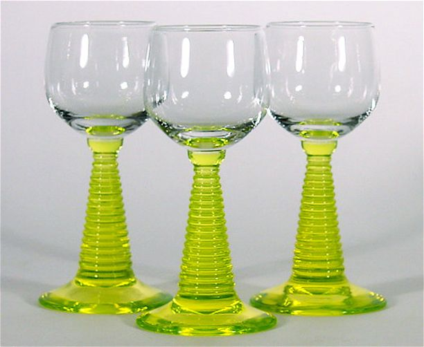 """Trio of Bohemian """"Roemer"""" Glasses or Rummers with Uranium Glass or 'Vaseline' Stems"""