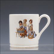 Antique Max Roesler Rodach Child's Cup with Laundry Day Motif - 1894 - 1912