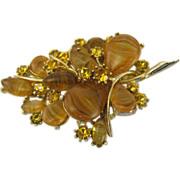 Signed ART molded glass stone and rhinestones Brooch