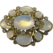 Faux Opal Brooch with lovely filigree work