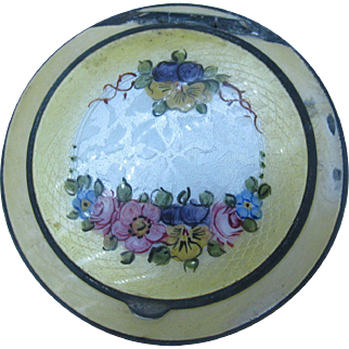 REDUCED Yellow Guilloche Compact with beautiful floral design