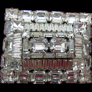 Weiss Very large Clear Rhinestone Brooch