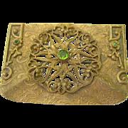 Brass Sash/Buckle Pin filigree and green stones Art deco/Nuevo