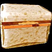 Vintage Murano hinged cased glass box with gold metallic Flecks