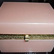 Antique Opaline Glass Box  ,Pale Pink Color