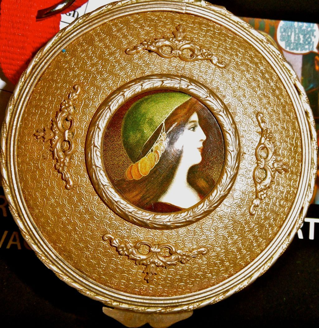 Antique French Bronze Box w/Hand painted portrait enamel on copperper inset