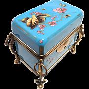 Antique Turquoise Opaline Glass Casket Box hnd Ptd, w/Key