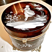 Antique Cranberry Glass Hinged Box, Casket.  Hand enameled