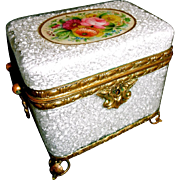 Antique Opaline Glass box with cracked ice texture,  Bronze mounts  Hand Painted