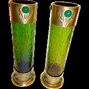 Antique Pair Loetz Vases.Secessionist Style , Set with stones