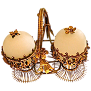 Antique French Opaline glass Double Egg Box.  Bronze mounts& handle