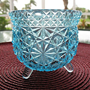 Blue Daisy Button Footed Toothpick Match Holder