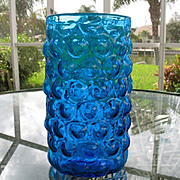 Tall 9.25 in. Cobalt Blue Bubble Vase Oval Blown Glass