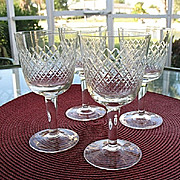 Wine Glasses 4 Diamond Criss-Cross Stemware