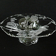 Rose Etch Heisey Open Footed Jam Dish