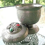 Vintage Chinese Pewter Covered Footed Jar