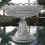 Diamond Point Baccarat Signed Compote Lead Crystal