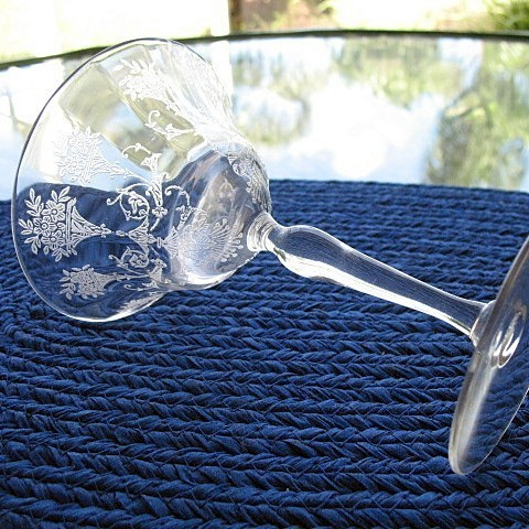 Morgantown 6 Mayfair Etch Martini Champagne Stems