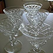 Tiffin 5 Cut Crystal Stemmed Liquor Cocktail Glasses